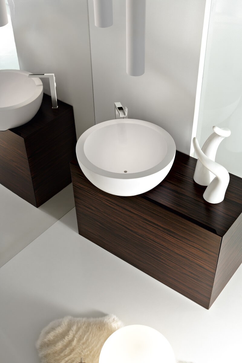 Modern bathroom design with rounded sink