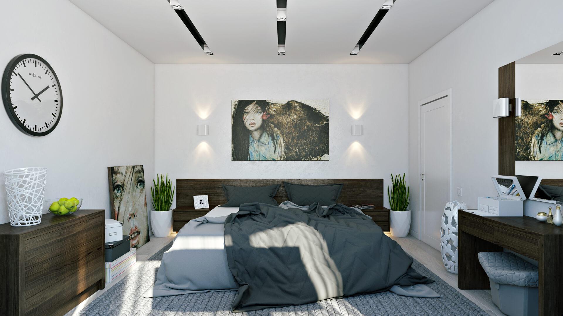 Modern bedroom decoration in white color