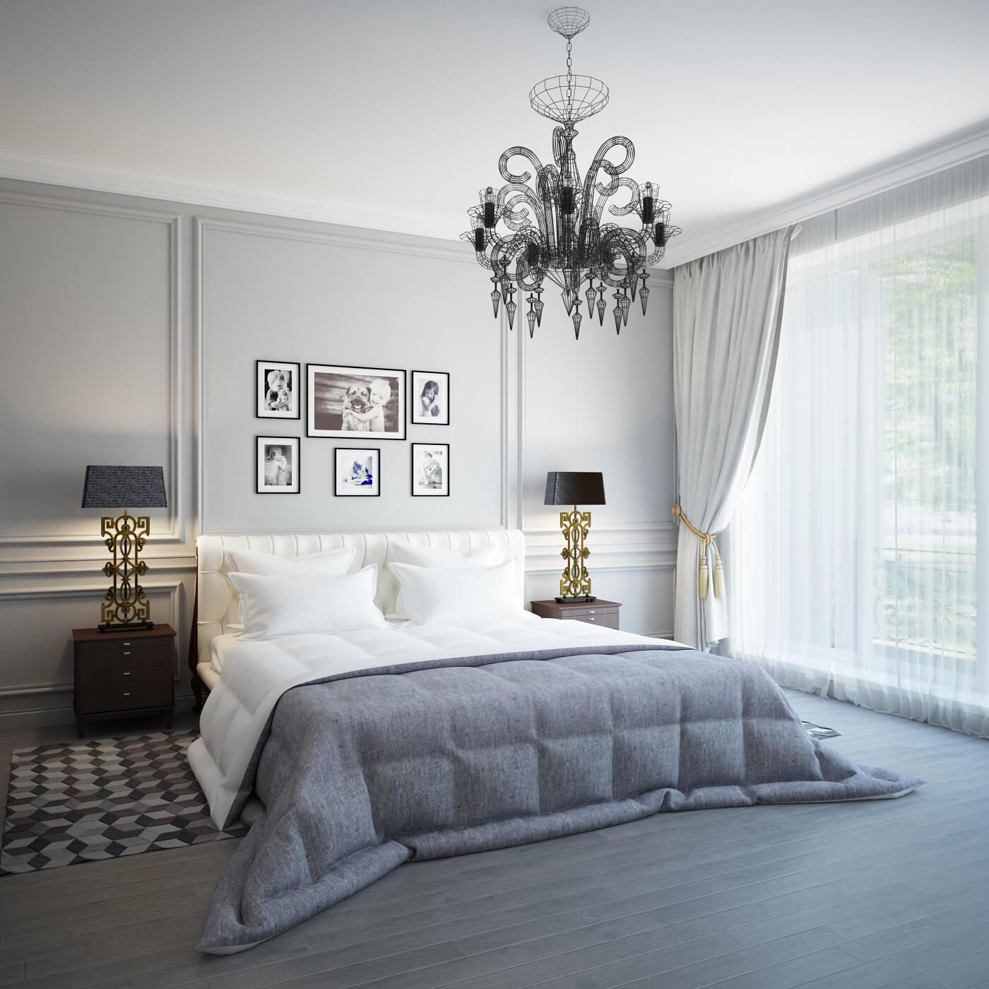 Modern bedroom design with chandelier