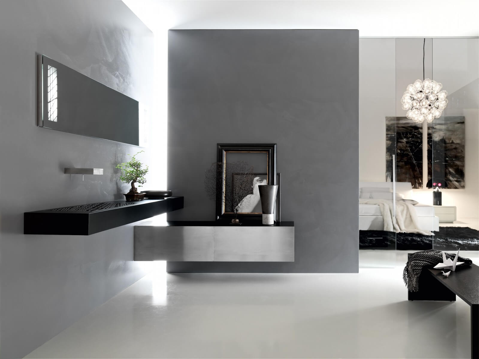 Modern black bathroom overlooking the master bedroom