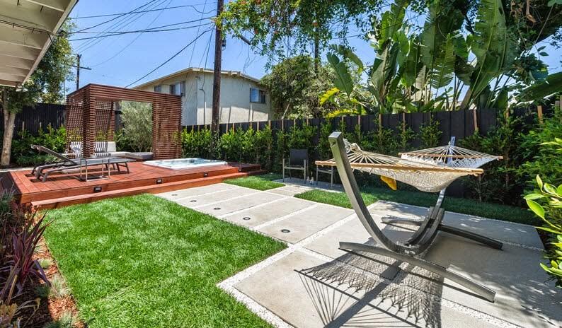 Modern design terrace with hammock