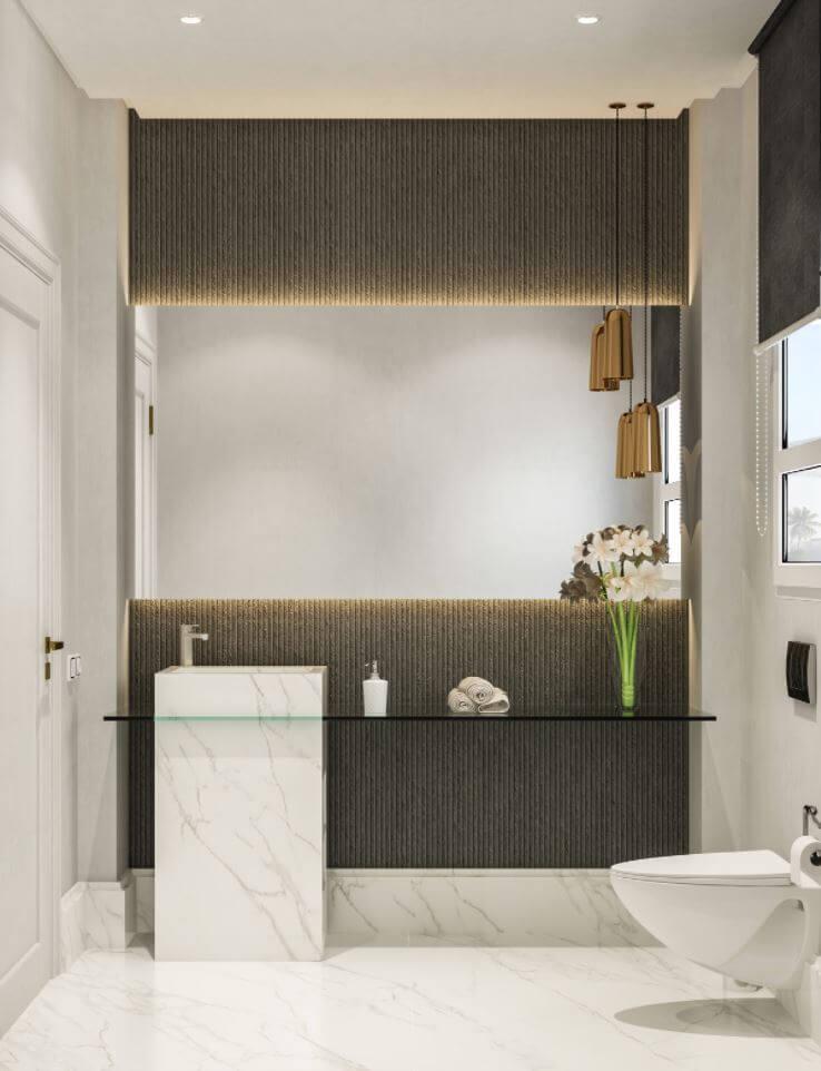 Original bathroom design with textures decor