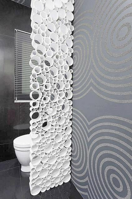Original design of bathroom with PVC pipes