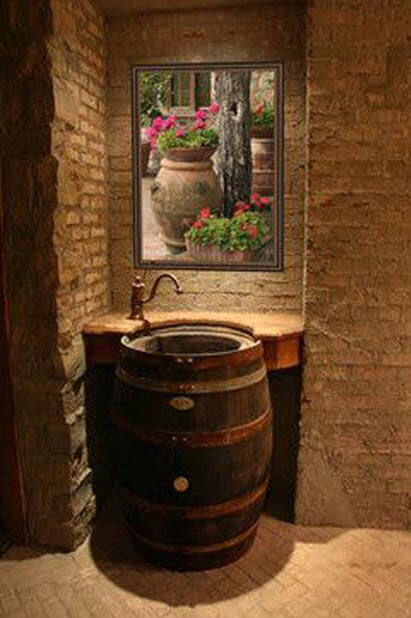 Original design of bathroom with barrel sink