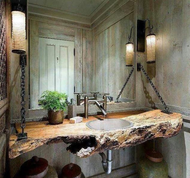 Original design of bathroom with wooden sink