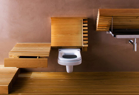 Original design of bathroom with wooden toilets