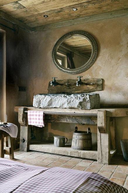Original design of rustic bathroom with stone sink
