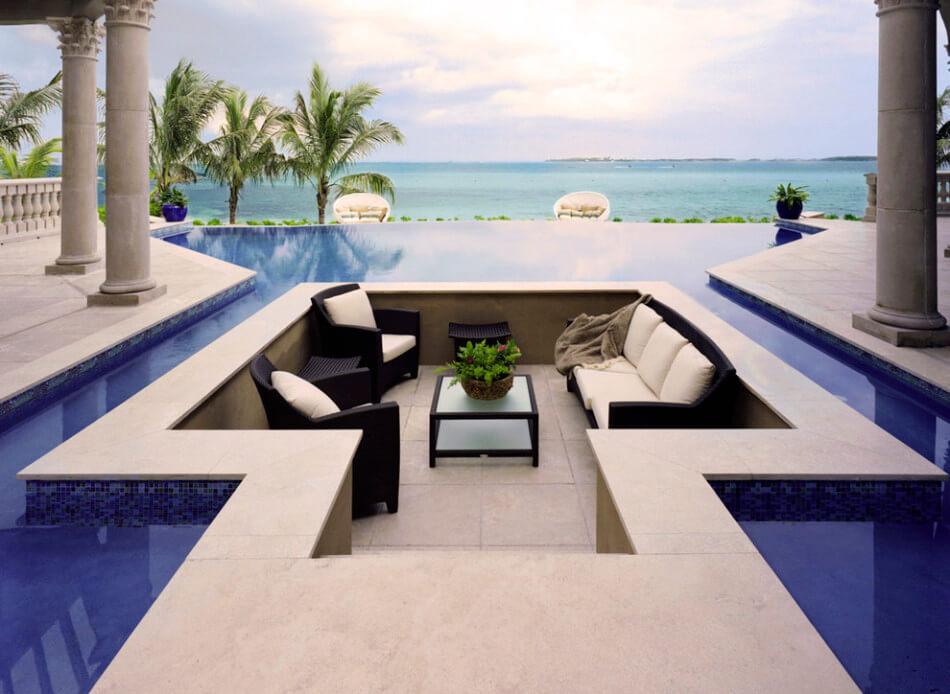 Original terrace design inside a pool
