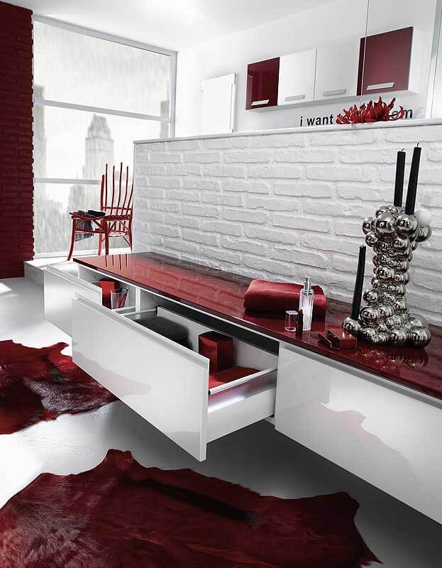 Red bathroom counter top design