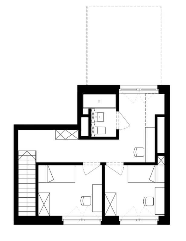 Second level of the duplex apartment