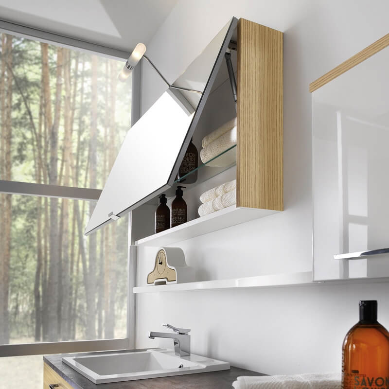 Shelf mirror design for bathroom