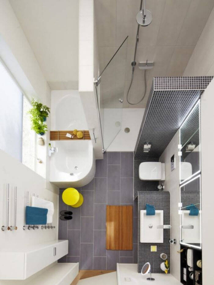 Small bathroom sanitary ware placement