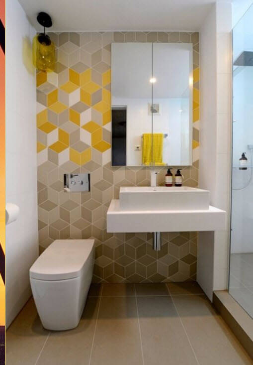 Small bathroom with geometric figures ceramics