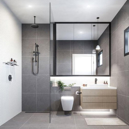 Small bathroom with gray ceramic tiles