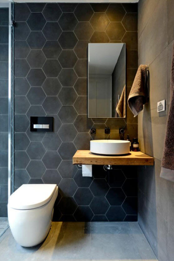 Small bathroom with hexagonal ceramic tiles