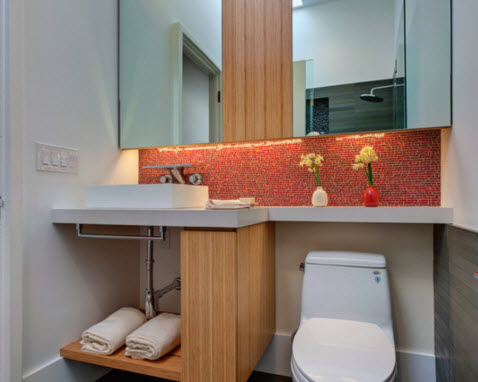 Small bookshelf in modern bathrooms