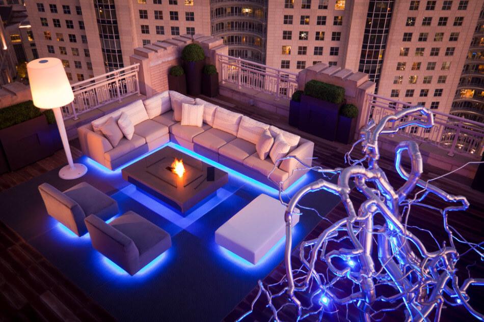Terrace design with illuminated furniture