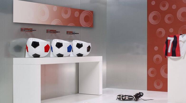 Three ball-shaped lavatories design
