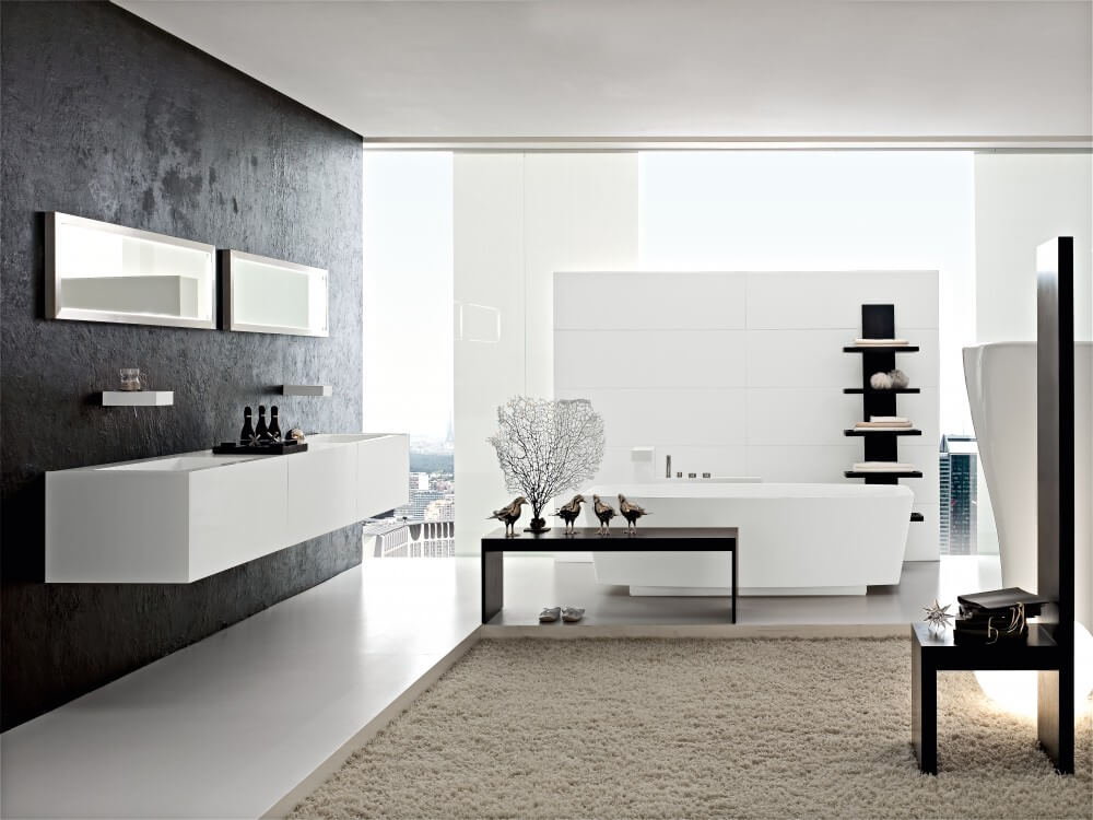 Ultra modern bathroom with black hardwood furniture