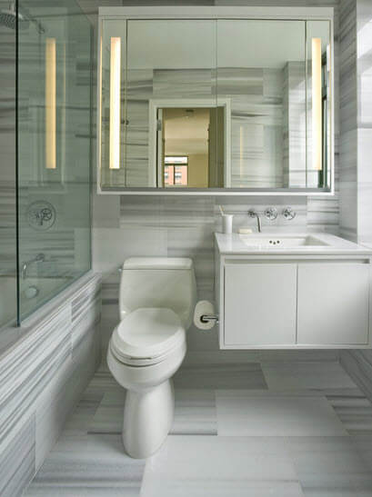 White and gray stripes in this bathroom design