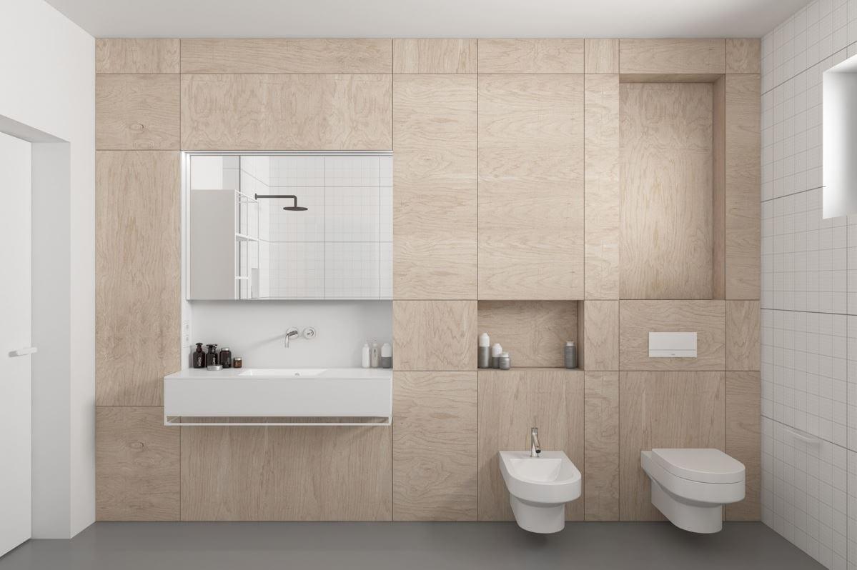 Wood applied to wall simple bathroom