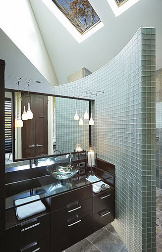 bathroom design with small tiles and glass washbasin