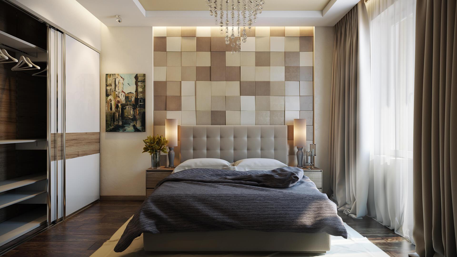 bedroom with wooden wall in headboard design