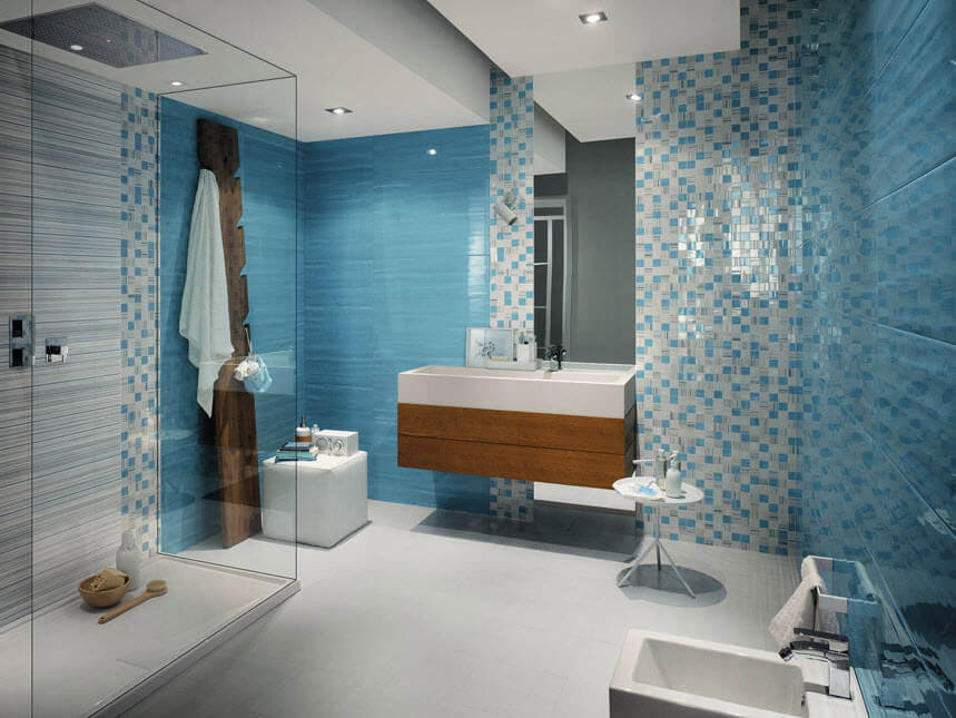 blue and light blue tiles for bathrooms