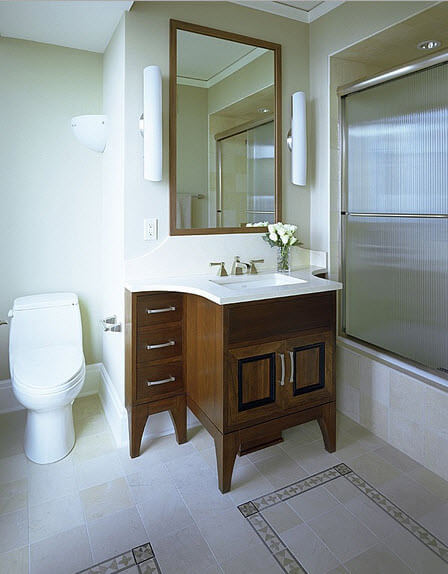 classic bathroom with wooden furniture design