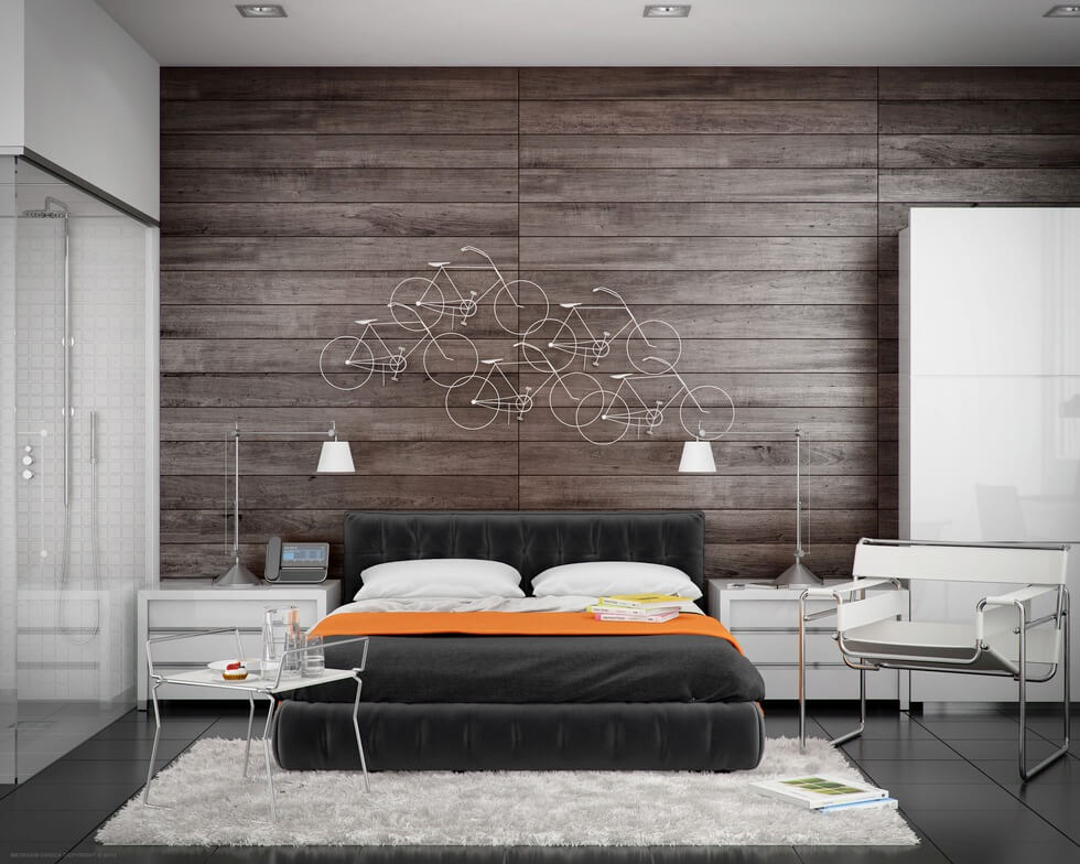 modern bedroom with bathroom design