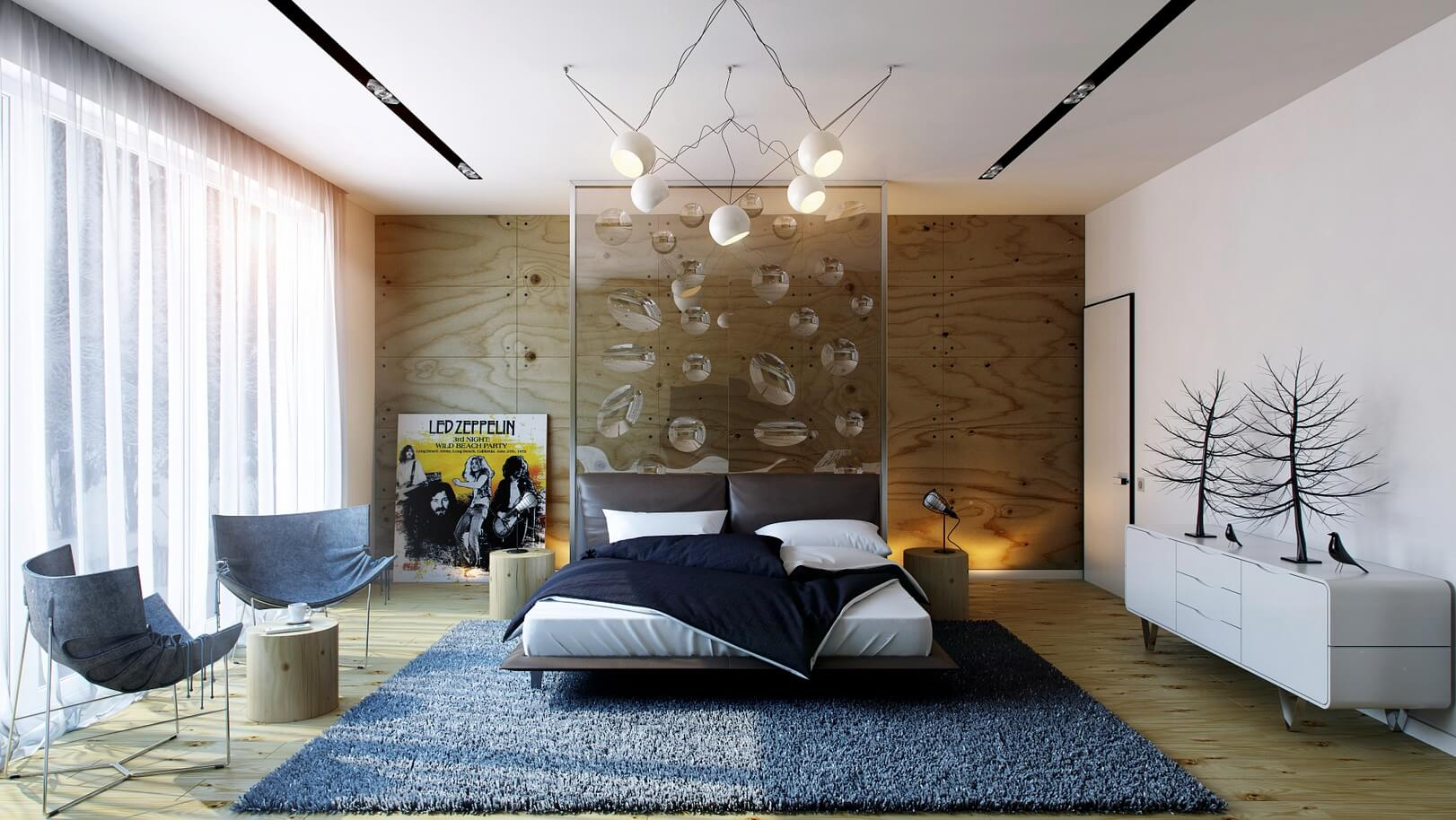 modern bedroom with decorative objects and carpet design