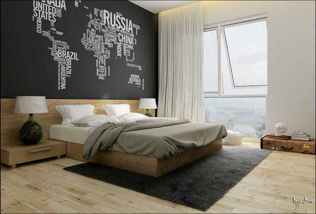 modern bedroom with wall of letters design