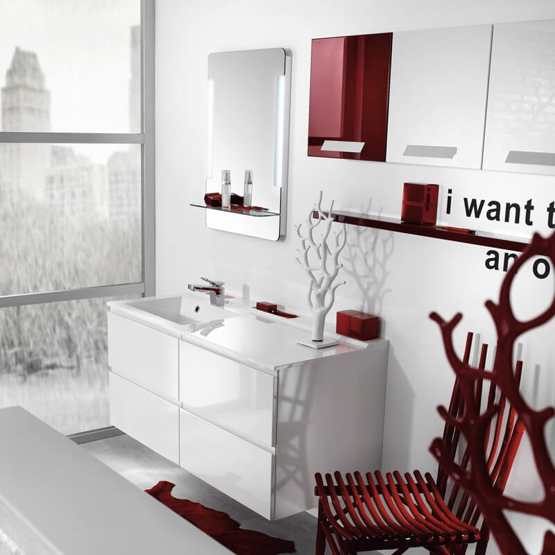Interior decoration for red and white bathroom