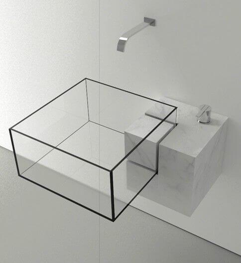 transparent glass washbasin design