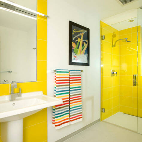 yellow and white bathroom design