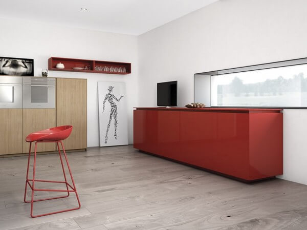 Bright red kitchen cabinet design