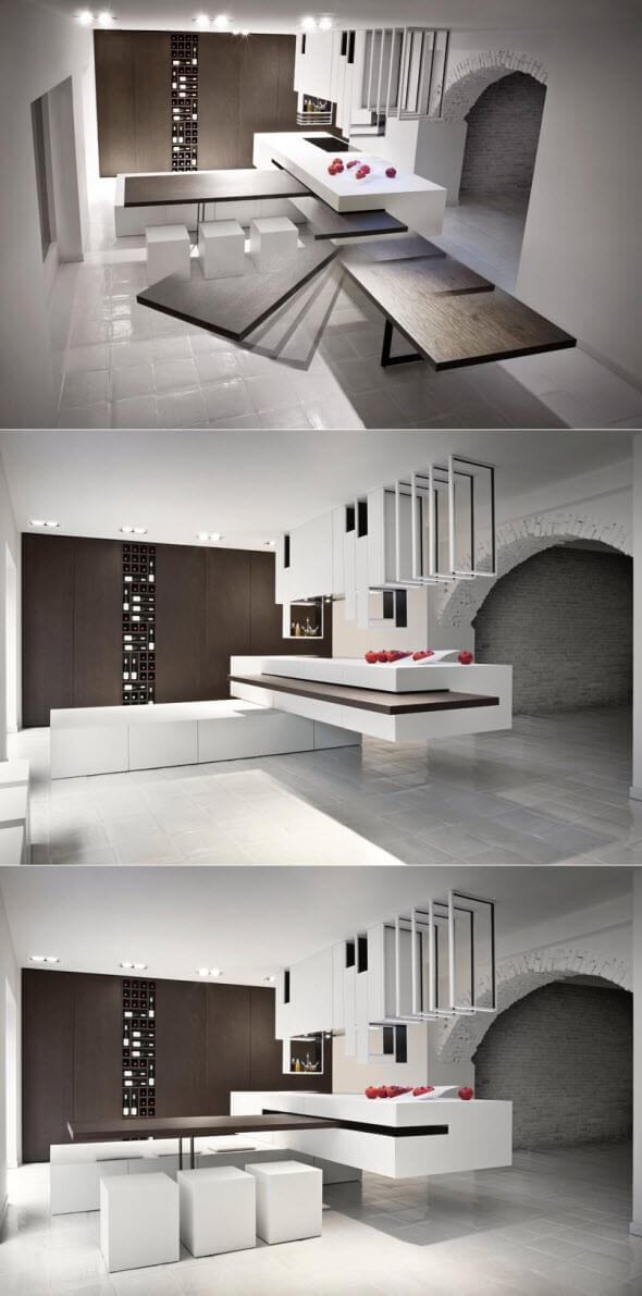 Design of kitchen furniture that transforms