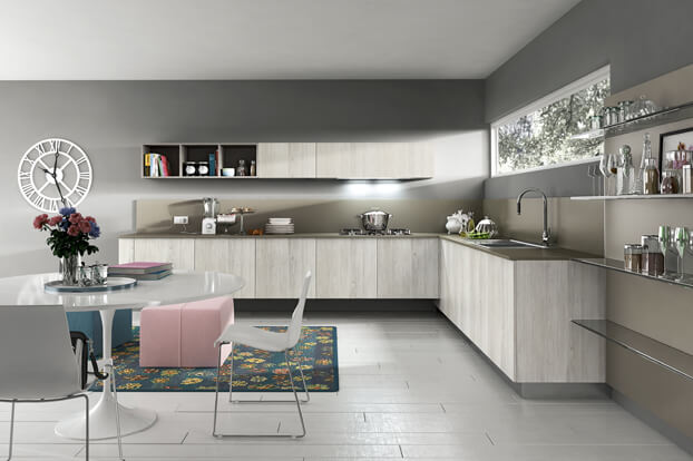 Design of modern kitchen gray and pink color