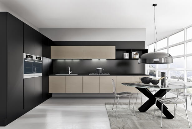 Design of modern kitchen in black and wood