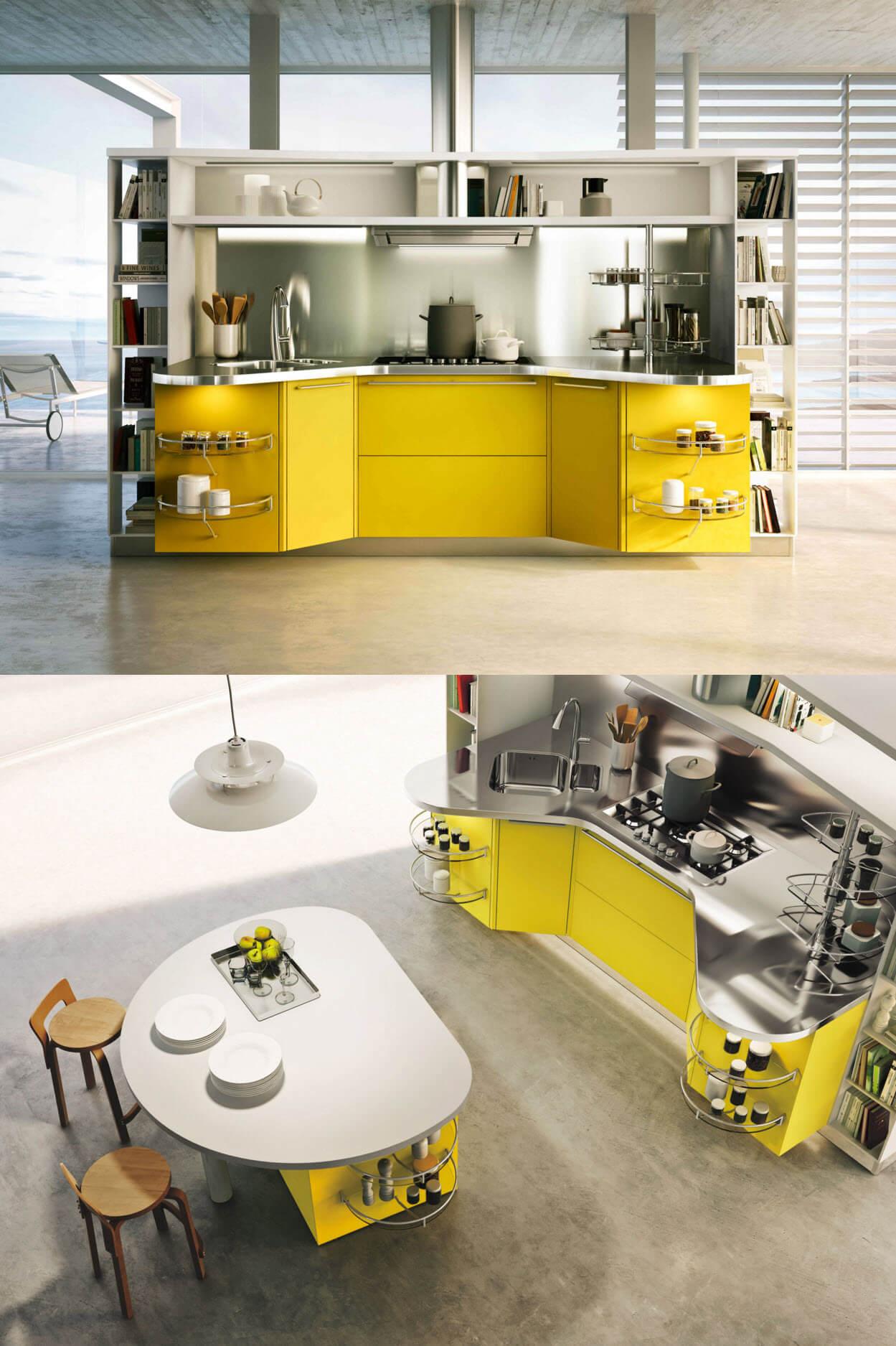 Design of modern kitchen with island