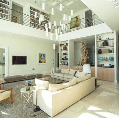 Double height room in white