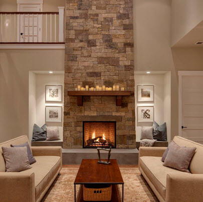 Double height room with fireplace