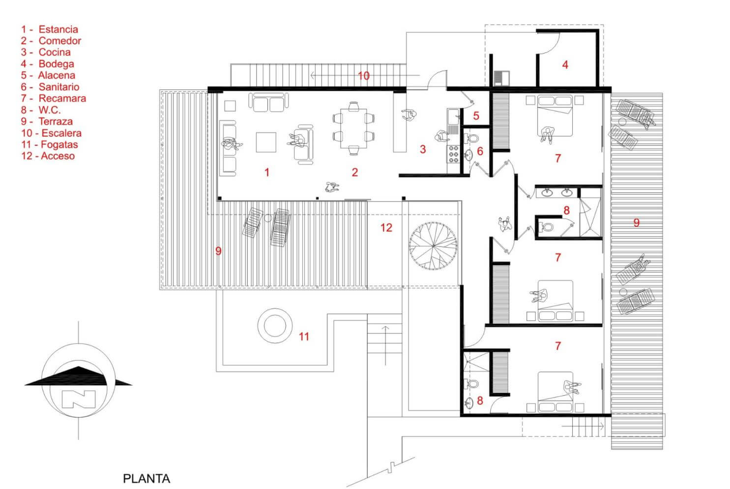 Flat L shaped house plan