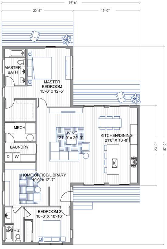 Floor plan of a t-shaped floor