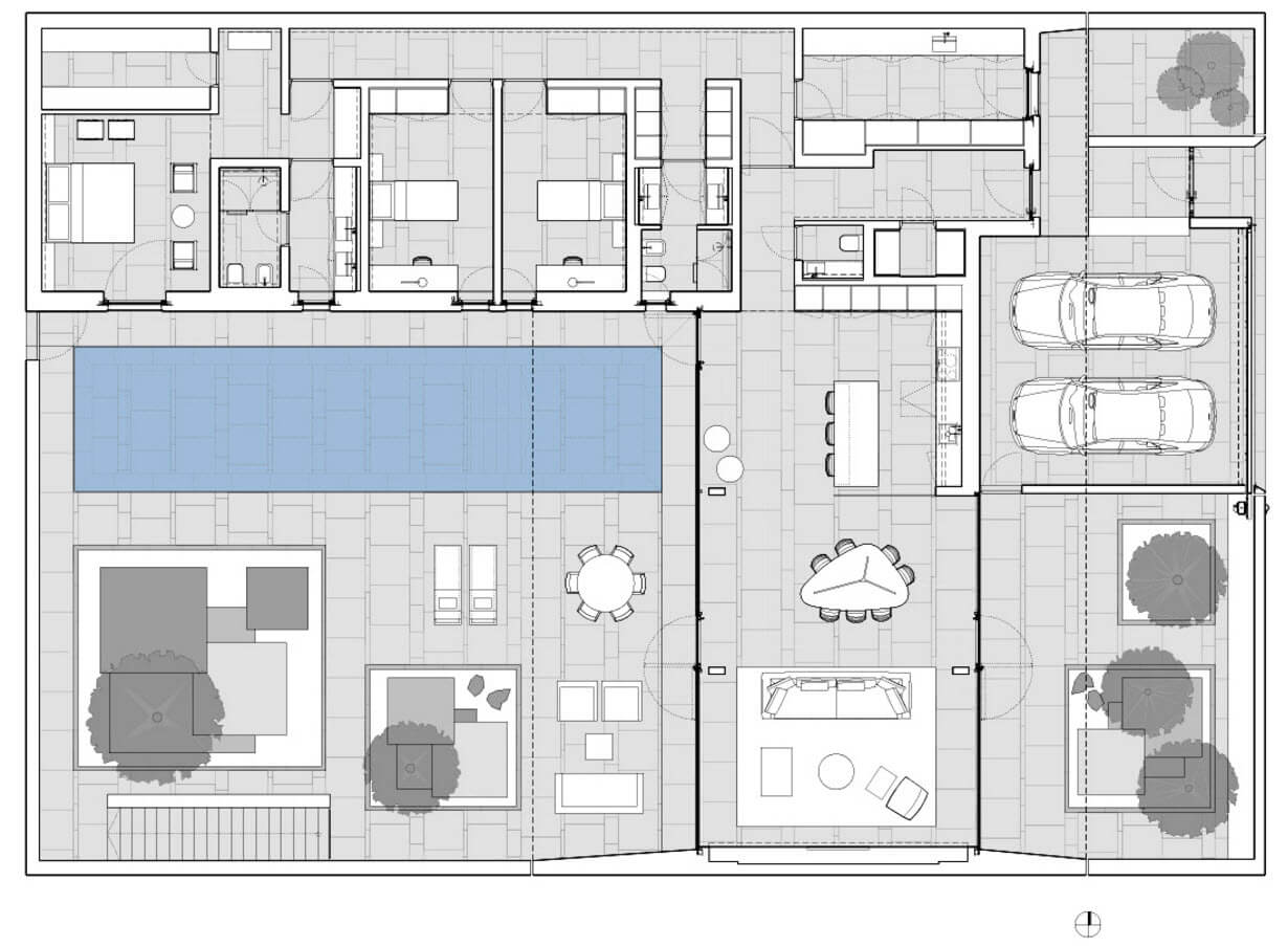 Floor plan of an L-shaped apartment