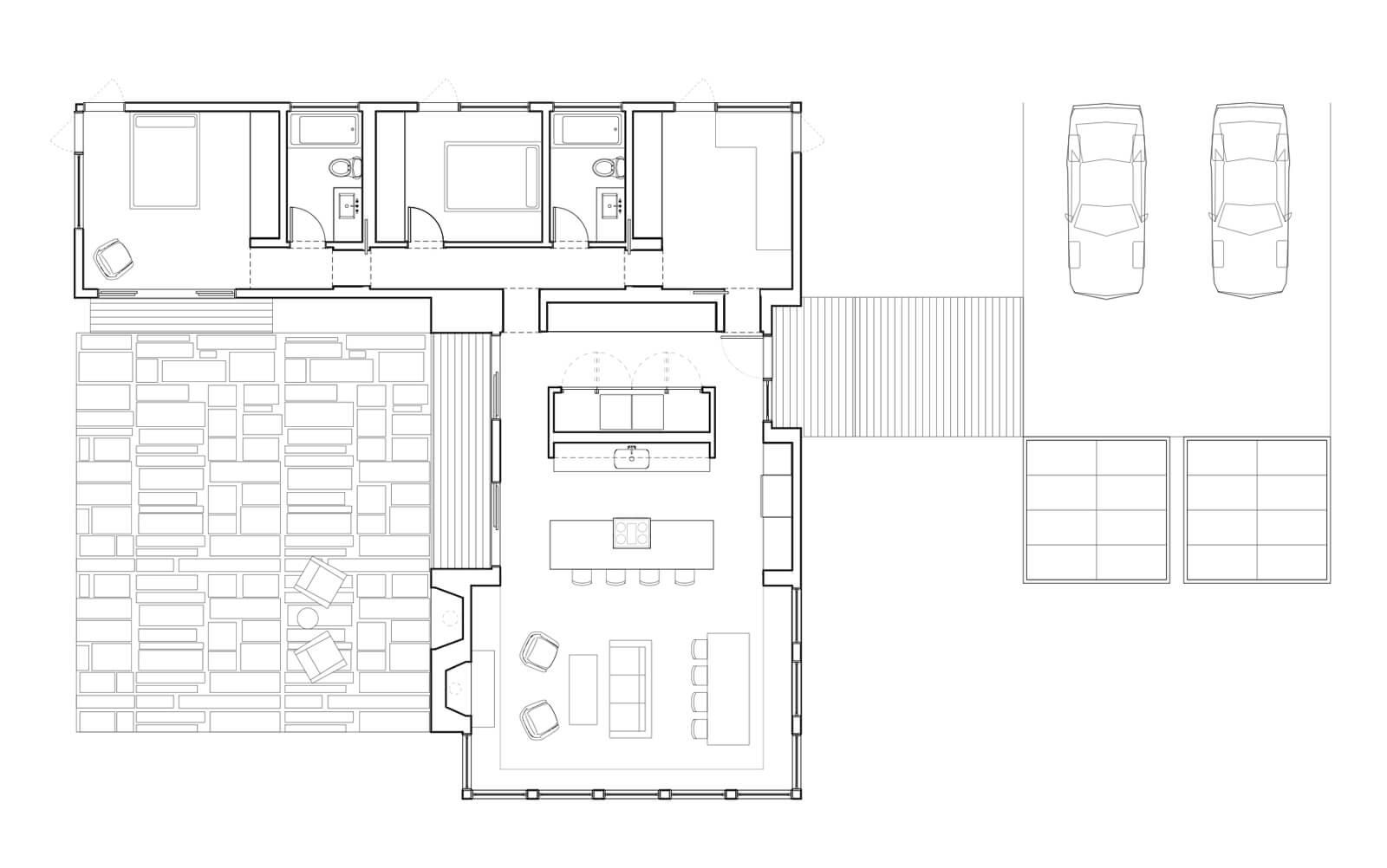 Floor plan of an L-shaped floor