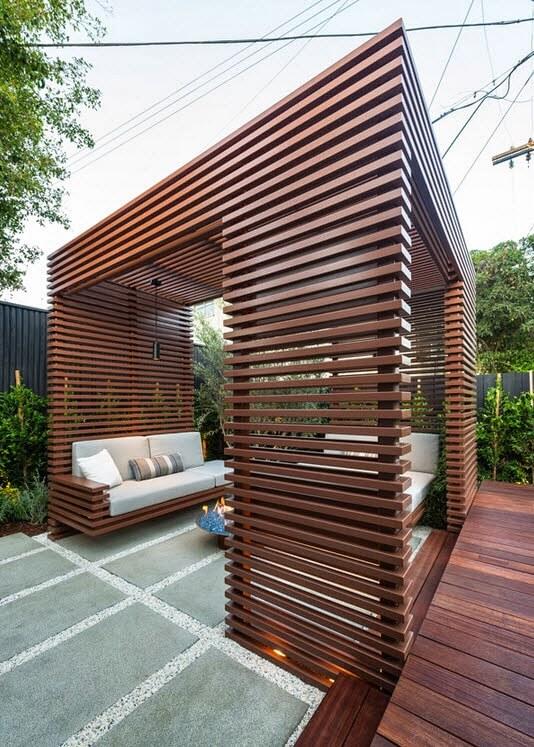 Furniture under the virtual walnut-colored gazebo on the terrace
