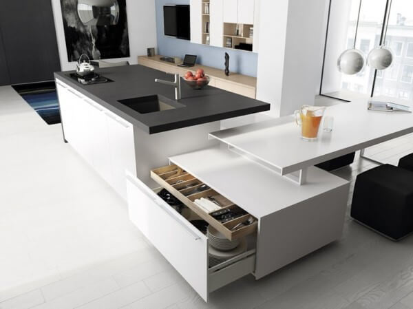 Gray and white kitchen design with minimalist multifunctional island