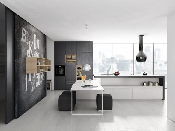 Gray and white kitchen with simple design