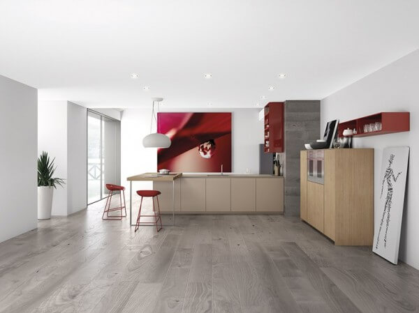 Gray minimalist kitchen design on the floor with red walls